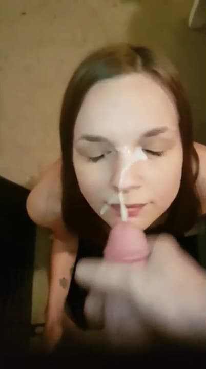 Cute brunette taking care of her BF's cock and let him cum on her face So sexy