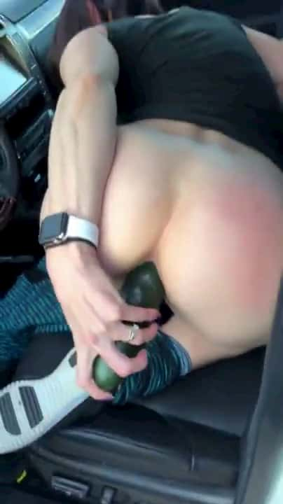 You can use cucumbers for multiple purposes They can be a good, big, cheap dildo Just like how this slut use it to masturbate in her car