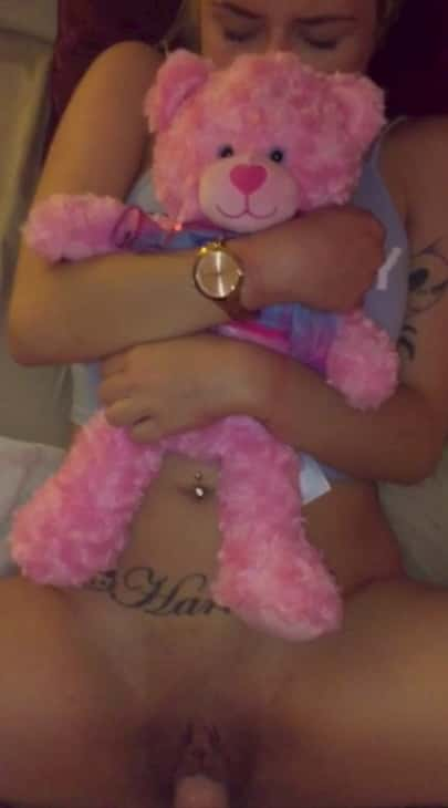 Hot 18 teen gets fucked by her boyfriend on Snapchat Don't know why she is holding that bear but sure he has a good cum on her tattoo